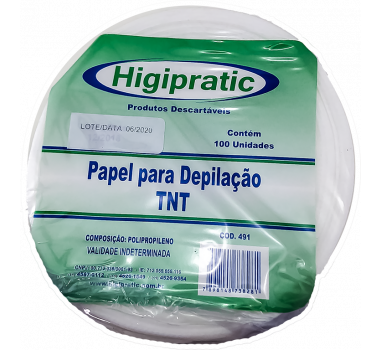 PAPEL P/DEPILACAO TNT ROLO 100un 491 HIGIPRATIC